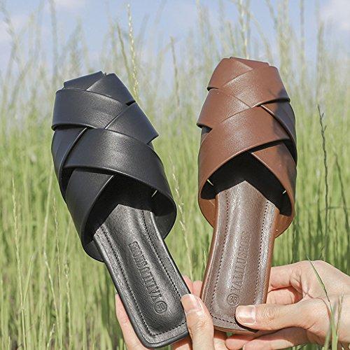 Donna Da Dimensioni Baotou colore uk4 Scarpe Tacco Pantofole Estate Basso Marrone Eu36 Ciabatte Sandali Marrone Con Spiaggia cn36 A5qnFSnzw