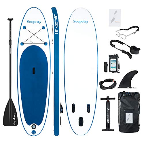 Inflatable Paddle Board, Inflatable SUP Board 10' x 32'' x 6'', Stand Up Paddle Board with All Accessories]()
