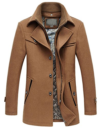chouyatou Men's Winter Stylish Single Breasted Wool Blend Pea Coat with Detachable Bib (Medium, Brown)