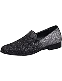Men Leather Slip On Metallic Textured Glitter Loafers Shoes Dress Shoes