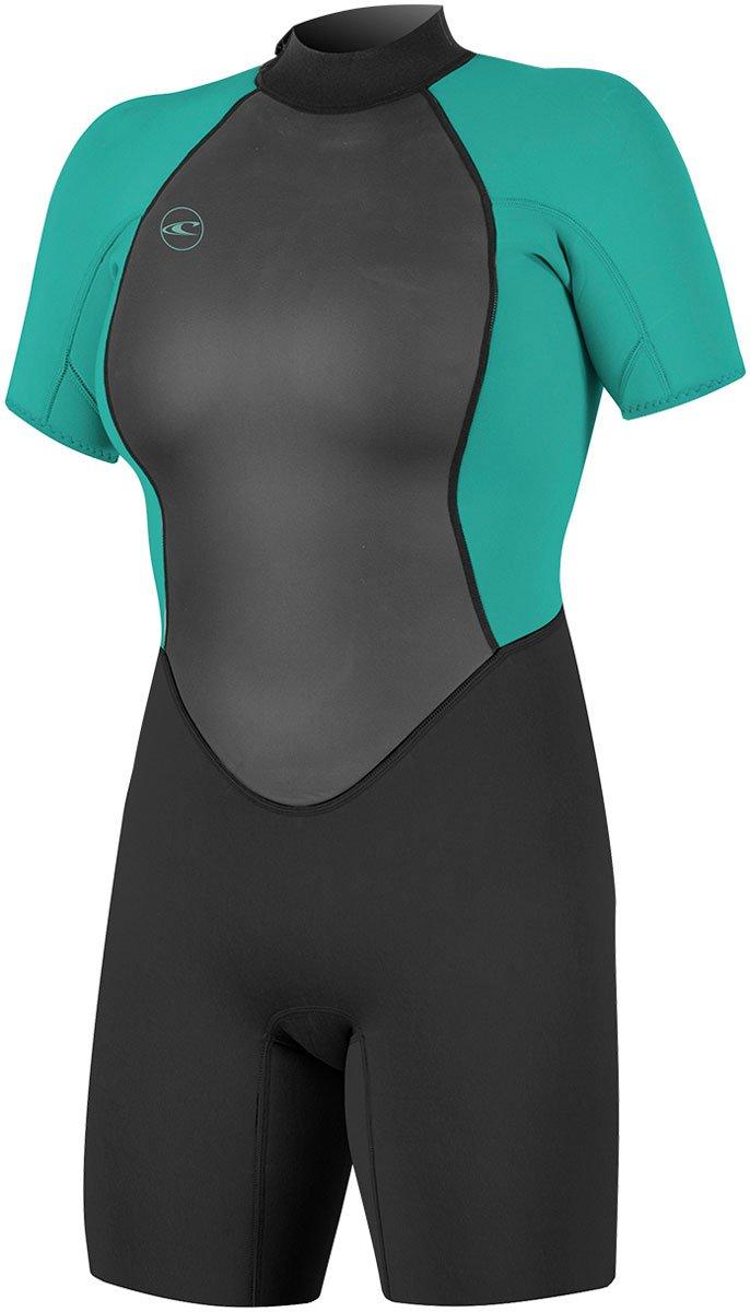 ONeill 2018 Womens Reactor II 2mm Back Zip Shorty Black//Aqua 5043