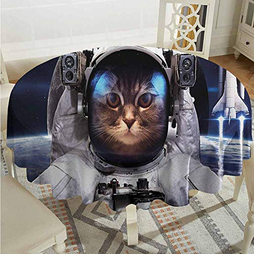 XXANS Waterproof Table Cover,Space Cat,Cat in Cosmonaut Outer Space Clothes in Cosmos Travel with Rocket,Table Cover for Kitchen Dinning Tabletop Decoratio,43 INCH,Navy Blue White and Red