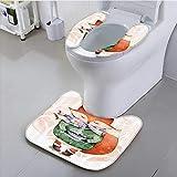 Auraisehome Use The Toilet seat Little Fox and Bird His Head Tea Time Kids Nursery Friends Baby Theme Bathroom Non-Slip