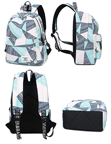 Backpack for Teens, Fashion Geometric Pattern Laptop Backpack College Bags Women Shoulder Bag Daypack Bookbags Travel Bag by Mygreen (Blue&Green&Orange) by mygreen (Image #3)