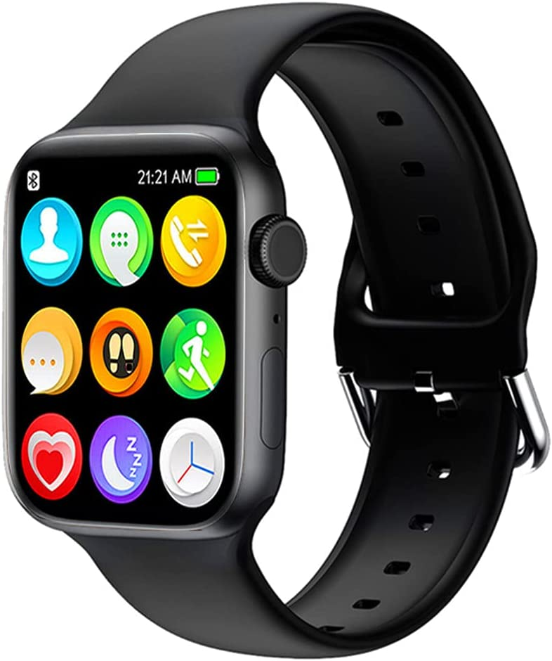 Smart Watch for Android iOS Phones Compatible with iPhone Samsung LG, HCHLQL 1.75 Inch Touchscreen Fitness Tracker Bluetooth Smartwatch with Call/SMS/Heart Rate/Pedometer for Men Women Kid (Black)