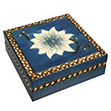 Chakra Tierra Flower Handmade Jewelry Box Polish Wood Keepsake
