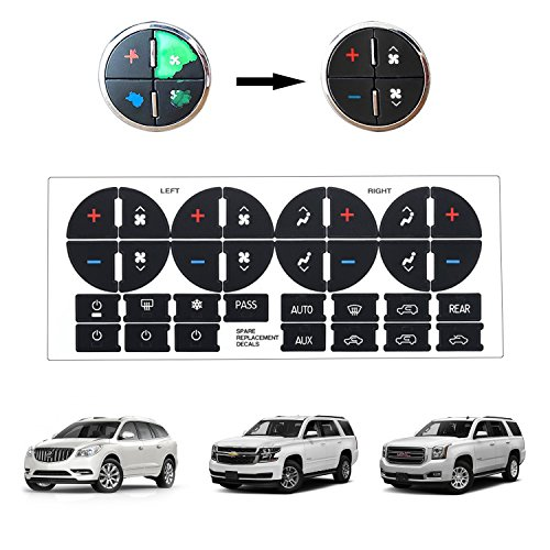 BORUD AC Button Repair Kit, AC Dash Button Replacement Stickers Strong  Sticky Ruined Faded AC Controls Decals for Buick Chevr