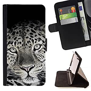 Momo Phone Case / Flip Funda de Cuero Case Cover - Patrón encantador lindo piel del leopardo Negro Blanco - LG G4c Curve H522Y (G4 MINI), NOT FOR LG G4