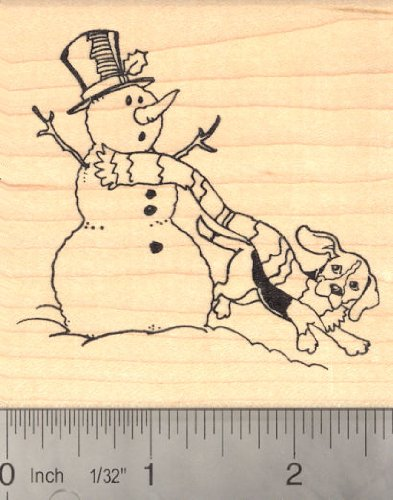 Beagle Dog with Snowman Rubber Stamp