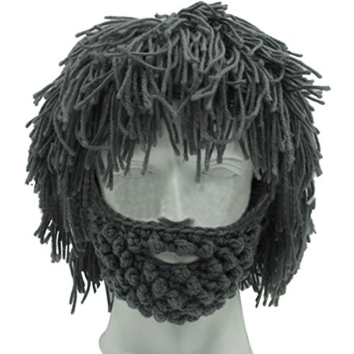 Lerben Men Women Knit Bearded Hats Handmade Wig Winter Warm Ski Mask Beanie - Beards With And Men Hats