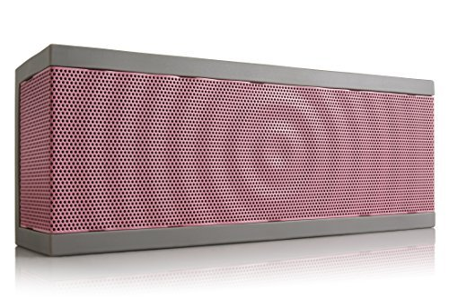 SoundBlock Custom Bluetooth Wireless Stereo Speaker for Computers and Smartphones. Bluetooth 3.0 Technology with Built-in Speakerphone and 10 Hour Rechargeable Battery. In Gray/Pink