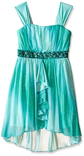 My Michelle Girls' Big Ombre Dress with Hi Low Hem and Beaded Waist Band and Ruffle Detail at Front, Mint, ()