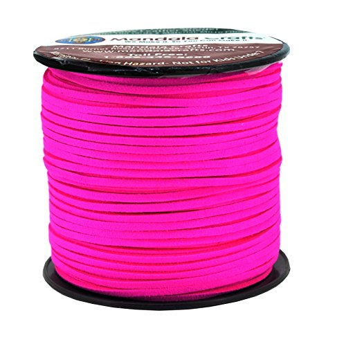 Mandala Crafts 100 Yards 2.65mm Wide Jewelry Making Flat Micro Fiber Lace Faux Suede Leather Cord (Hot Pink)