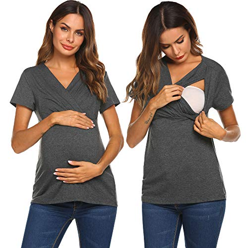 Wildtrest Women's Comfy Maternity Nursing Tee Shirt Short Sleeve Flattering Sides Double Layer Breastfeeding Tops Grey S
