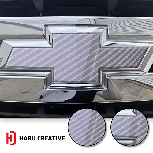 (Haru Creative - Front Hood Grille Bowtie Emblem Overlay Insert Inlay Vinyl Decal Sticker Compatible with and Fits Chevy Silverado 2019-6D High Gloss Carbon Fiber Silver )