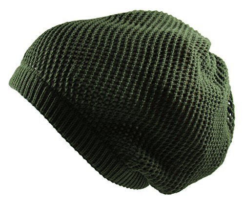 RW 100% Cotton Mesh Rasta Light Weight Slouchy Beanie (Olive Green)]()
