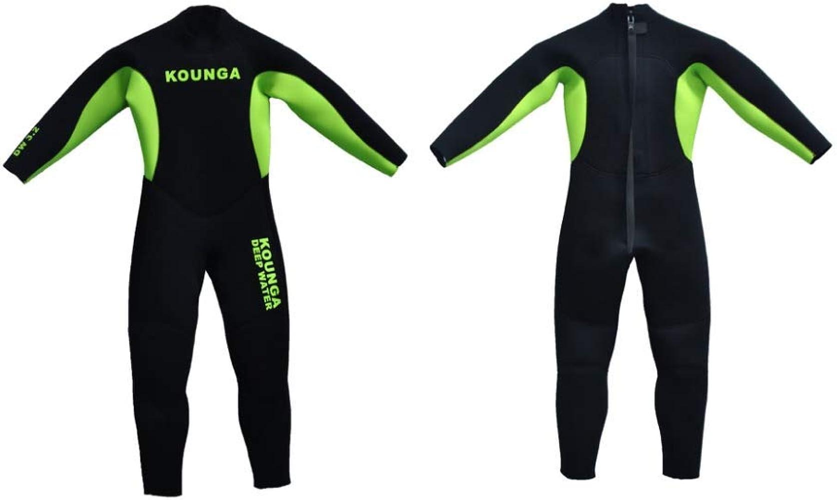 Kounga Dw 3.2 Traje para Surf y Buceo, Unisex niños, Negro/Verde ...