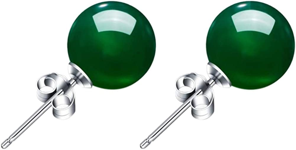 1 par de pendientes de calcedonia de color verde natural, con piedras de ónix y cristales para mujer y niña, con una bolsa de joyería