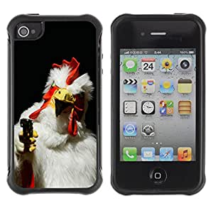 Hybrid Anti-Shock Defend Case for Apple iPhone 4 4S / Rooster With A Gun