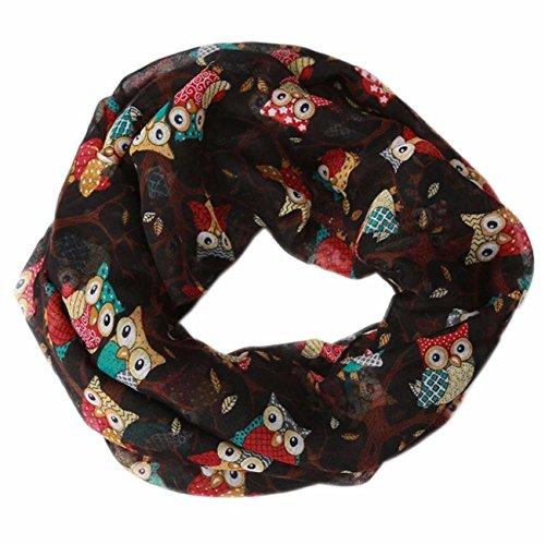 (Women Ladies Owl Pattern Print Scarf Warm Wrap Shawl - Novelty Scarves ,Fashion Scarves ,Cold Weather Scarves (Black))