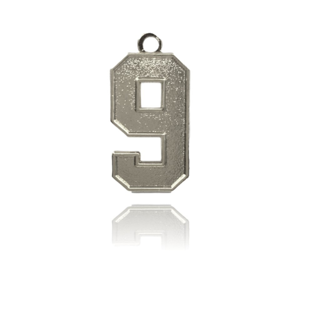 Number 9 Jersey Style Sports Necklace Charm Pendant (0.8'' Tall - Standard Size) SILVER PLATED Perfect For: Football, Baseball, Basketball, Soccer, Hockey, Softball, Volleyball, Lacrosse & More