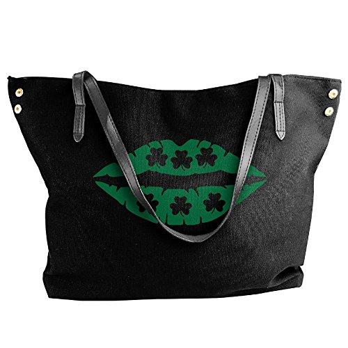 Bag With Women's Lips Large Hobo Canvas Shoulder Tote Irish Shamrocks Black Handbag wqn1v7fxna