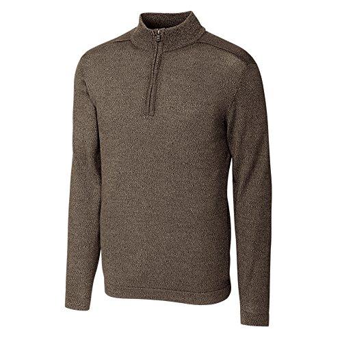 Cutter & Buck Men's Henry Marled Merino Wool Blend Long Sleeve Half Zip Sweater, Twig Brown Large