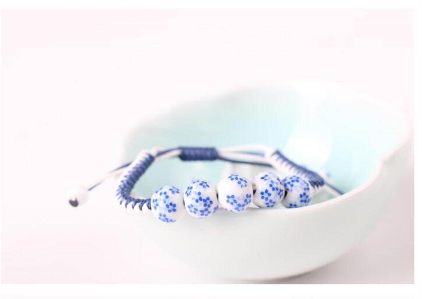 EEvER Pulsera Atractiva del Grano Pulsera Tejida a Mano con Cuentas de cerámica Azul y Blanca