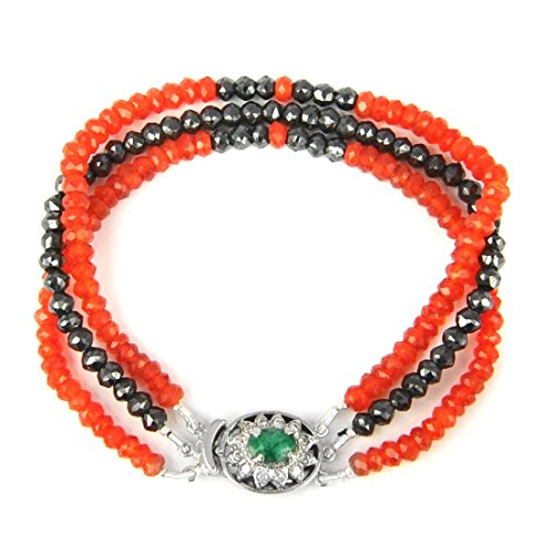 Certified Three Row 3mm-4mm Black Diamond & Carnelian Gemstone Bracelet for Birthday Gift by GemsRiver