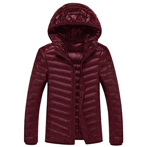 SWISSWELL Packable Lightweight Hooded Puffer Coat For Men Wine 2X-Large by SWISSWELL (Image #7)