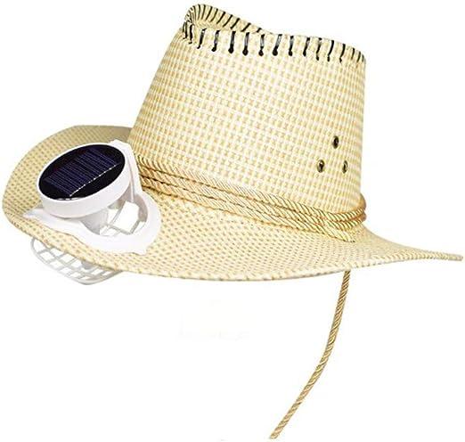 CONRAL Sombrero Vaquero con Ventilador refrigeración para Hombres, batería y energía Solar Ventilador Fresco ala Ancha Visera Gorra Unisex para Eventos al Aire Libre Viaje Playa Vacaciones,Beige: Amazon.es: Jardín