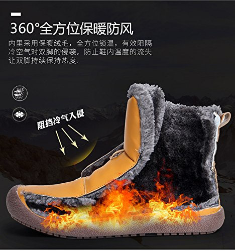 Moodeng Mens Snow Boots Fully Fur Lined Waterproof Leather Warm Anti-Slip Lacing Unisex Boots Outdoor Brown vCIf6wmcB