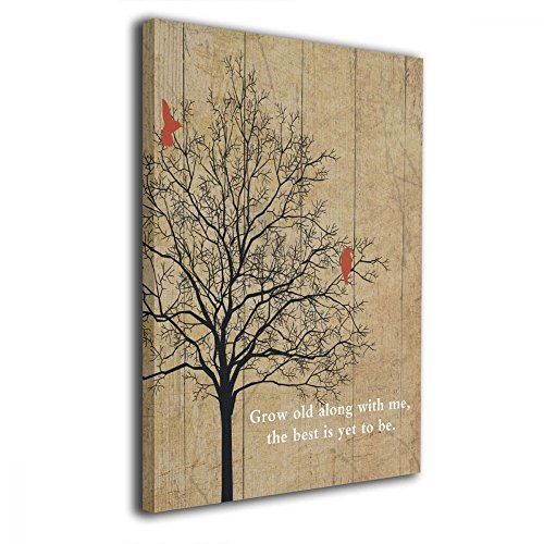 Art-logo Canvas Wall Art Browning Poem Quote Grow Old Along with Me Love Birds Distressed Oil Painting Picture Modern Decor Contemporary Artwork Framed Ready to Hang 16