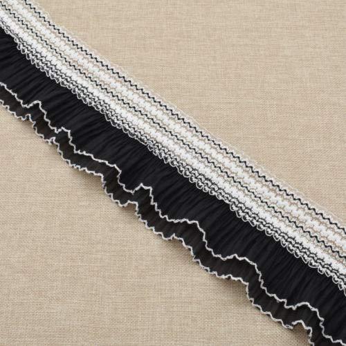 FidgetKute 2 yd White Black Stretch Pleated Lace Trim Ruffle Elastic Wedding Ribbon DIY Black