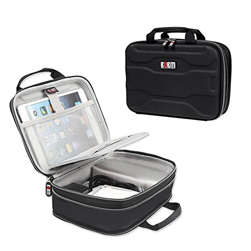 BUBM Electronic Organizer, Hard Shell Travel Gadget Case with Handle for Cables, USB Drives, Power Bank and More, Fit for iPad Mini, Small by BUBM