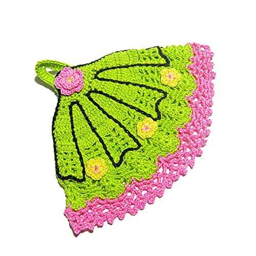 Agarradera verde y rosa en forma de abanico de ganchillo - Tamaño: 17 cm x 14.5 cm H - Handmade - ITALY