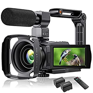 Flashandfocus.com 51MykzE142S._SS300_ 4K Video Camera Camcorder YouTube Vlogging Camera 48MP UHD WiFi IR Night Vision Camcorder 3'' 270°Rotation Touch Screen…