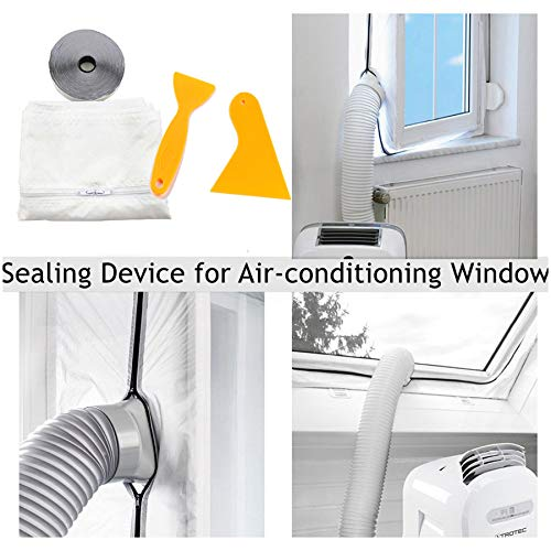 Window Seal, 560cm Window Sealing for Portable Air Conditioner and Tumble Dryer-Works with Every Mobile Air- Easy to Install - Air Exchange Guards with Zip and Adhesive Fastener (White) ()