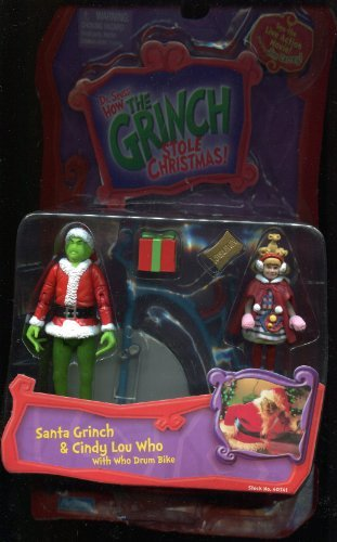 Dr. Seuss How the Grinch Stole Christmas Action Figure Set: Santa Grinch & Cindy Lou Who with Who Drum Bike -