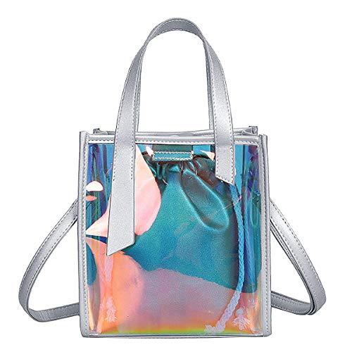 Goodbag Boutique Hologram Tote Bag Laser PU Shoulder Bag Large Capacity Fashion Holographic Handbag 2 in 1 Crossbody Bag ()