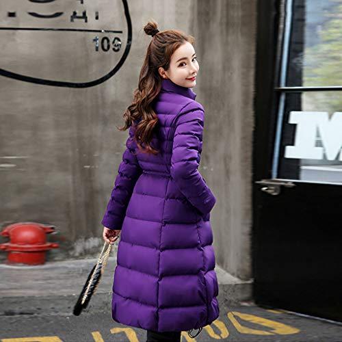 Nz Chaqueta Purple color Abajo Xxl Elegante Purple Capa Moda Tamaño De Púrpura Gruesa Cálida Algodón Mujeres Largo Adelgaza Las ppqrSHdnw