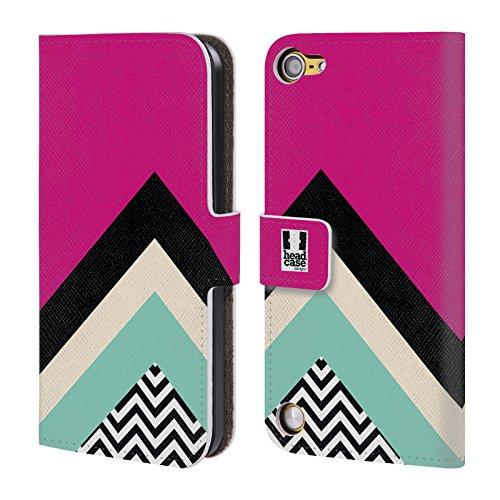 Head Case Designs Fucsia Chevron A Blocchi Di Colore Cover a portafoglio in pelle per iPod Touch 5th Gen / 6th Gen