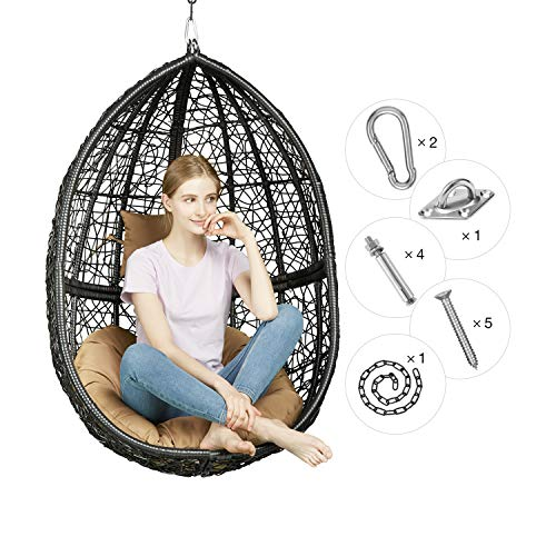Greenstell Rattan Wicker Egg Hammock Chair with Hanging Kits,Weather Fastness Hanging Chair with Comfortable Brown Cushion and Pillow,Basket Swing Chair for Indoor,Outdoor Bedroom,Patio,Garden Black