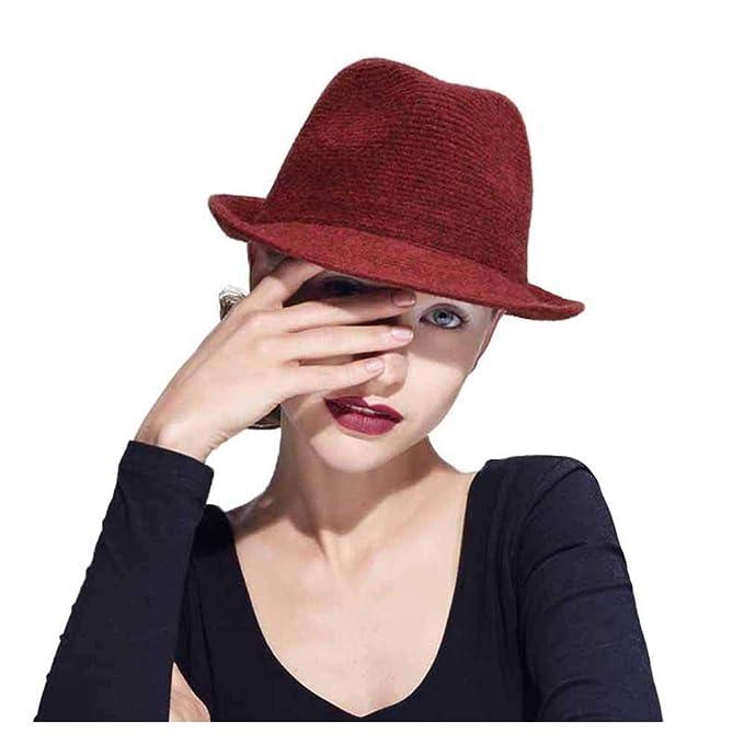 54613f9d2aa Hat&Cap, Cap Women Wool Fedora Hat for Winter Autumn Elegant Lady Gangster  Trilby Felt Homburg