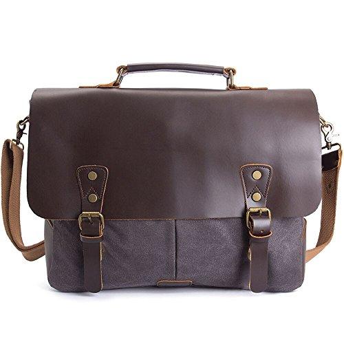 15.6 inch Laptop Messenger Bag,WalkingToSky Leather Vintage Messenger Bag Shoulder Bag Water Resistant Canvas School Satchel Bag Computer Laptop Bag for Men and Women(Grey, Oil) by WalkingToSky