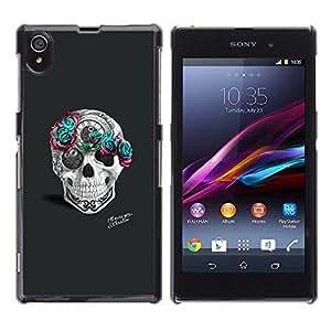 """For Sony Xperia Z1 Case , Arte Teal Rose gris rosado del cráneo del tatuaje"""" - Diseño Patrón Teléfono Caso Cubierta Case Bumper Duro Protección Case Cover Funda"""