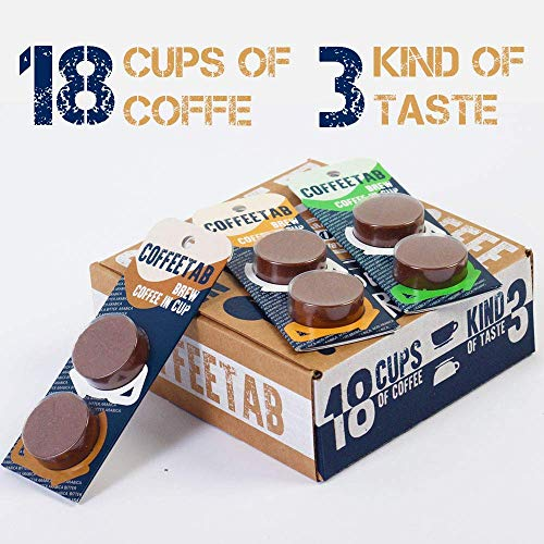 194 ARABICA COFFEE TAB Natural Dark Ground Coffee FOR Quick BREWING IN CUP Innovative In The Coffee Industry (18 cups in package, 3 kind of taste)