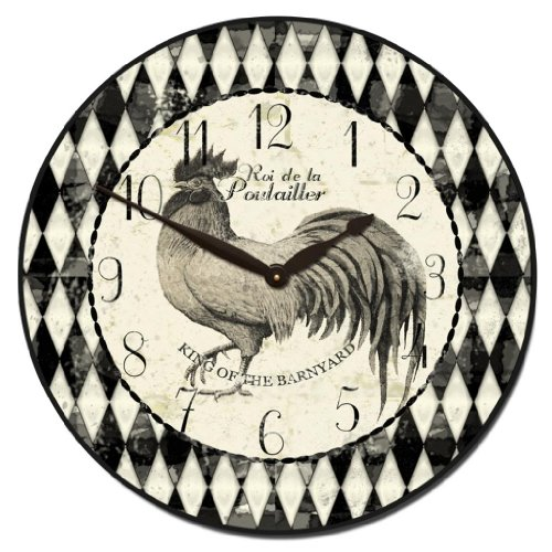 Black & Cream Rooster Wall Clock, Available in 8 sizes, Most Sizes Ship 2 - 3 days, Whisper Quiet.