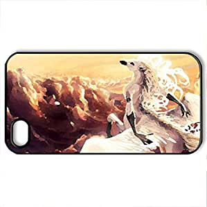 Pegasus - Case Cover for iPhone 4 and 4s (Horses Series, Watercolor style, Black) by lolosakes