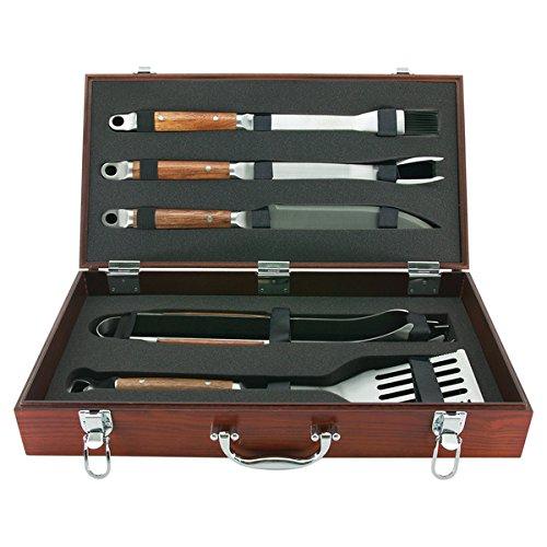 Mr. Bar.B.Q 5 Piece Tool Set with Genuine Hardwood Case by Mr. Bar-B-Q